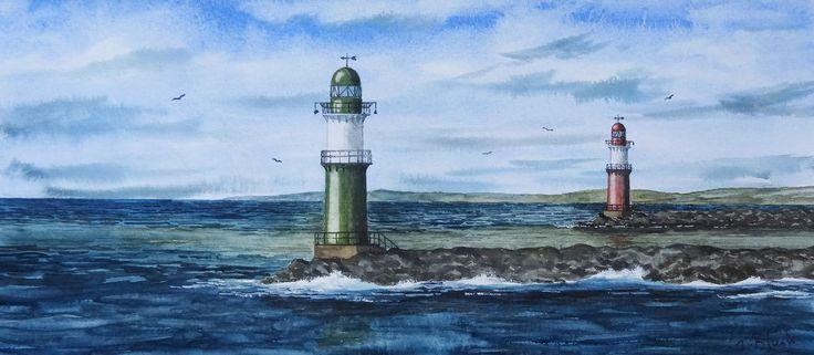 original aquarell hafeneinfahrt mit leuchtt rmen in warnem nde ebay lighthouses. Black Bedroom Furniture Sets. Home Design Ideas