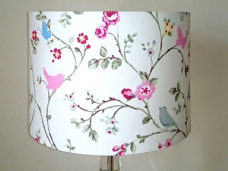 Bird Butterfly Lampshade Pink Floral Lamp Shade Vintage Shabby Chic Roses Girls Hanging Ceiling Lights Lamp