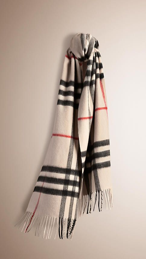 Stone check The Classic Cashmere Scarf in Heritage Check - 1