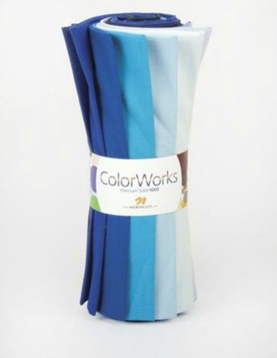 "Northcott Fabric ColorWorks – Sea & Sky Bundle One package only available for sale. Contains 12 fat quarters, measuring approx. 18"" x 22"". R9000 Sea & Sky Fat Quarter Bundle. Contains 12 different shades of solid blue. All of the fabric is quilt shop quality and from a smoke free environment."