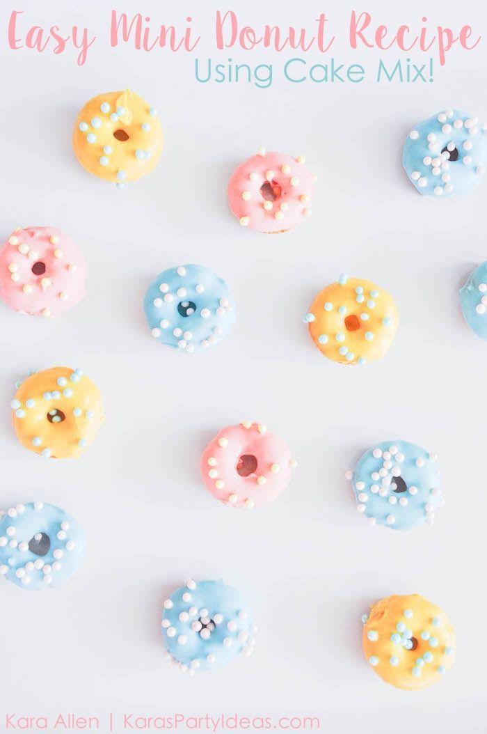 Easy mini doughnut recipe using cake mix {baked, not fried}! Via Kara's Party Ideas   Kara Allen   KarasPartyIdeas.com Donuts are the cutest!