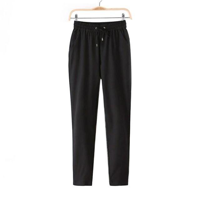2017 Hot Sale Casual Women Chiffon Pants Elastic Waist Solid Color Office  OL Pants Bright Color