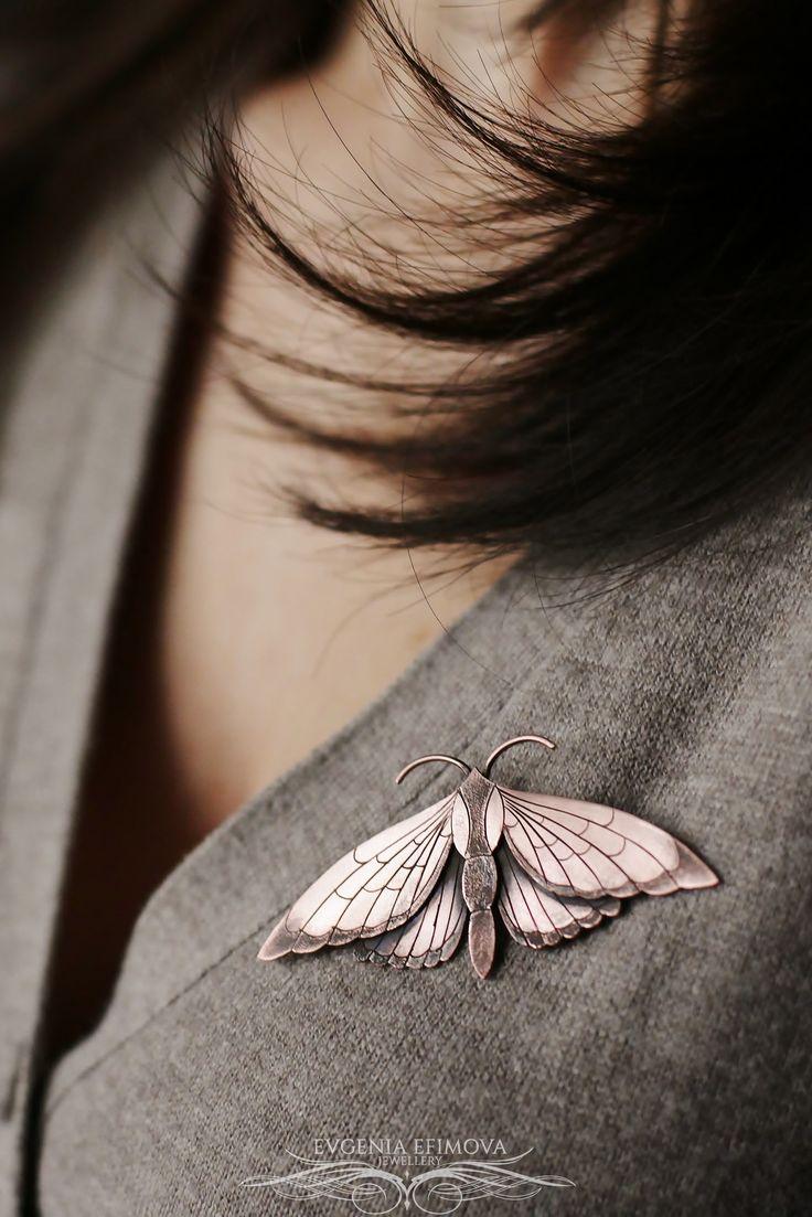 Jewelry | Jewellery | ジュエリー | Bijoux | Gioielli | Joyas | Rings | Bracelets | Necklaces | Earrings | Art | Moth handmade copper brooch. https://www.etsy.com/ru/shop/EvgeniaEJewellery