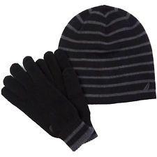 Nautica Mens Striped Hat & Gloves Gift Set