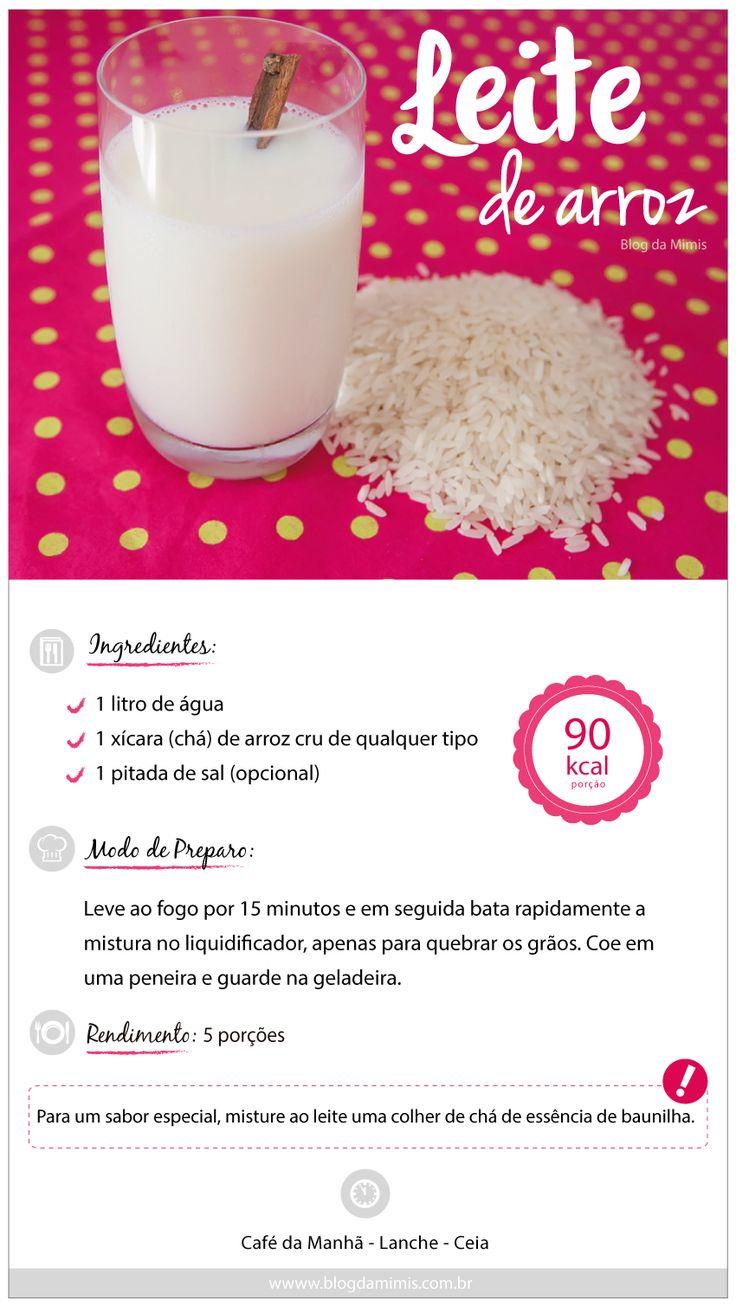 LEite de arroz. Leve ao fogo por 15 minutos 1 litro de água com 1 xícara de chá de arroz cru de qualquer tipo e uma pitada de sal (opcional). Em seguida, bata rapidamente no liquidificador, apenas para quebrar os grãos. Coe em uma peneira e guarde na geladeira. 90 kcal porção.