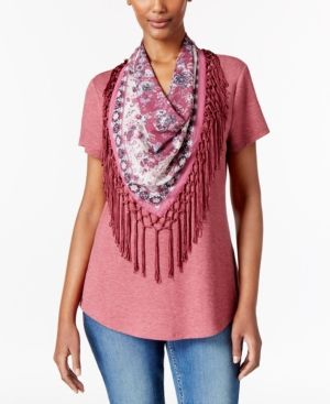 Style & Co T-Shirt with Fringe Scarf, Only at Macy's -