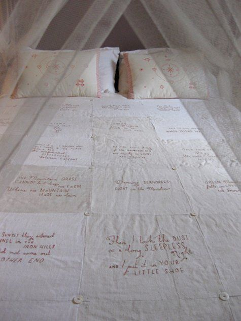Handstitched repurposed linen quilt with quotes of poetry. Heavenly project idea. Small take and go. sigh. Sophie Blackall is ah-mazing.