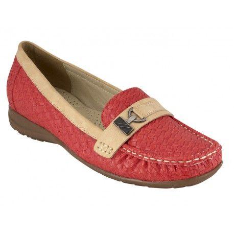 Γυναικείο μοκασίνι B-Soft-Μοντέλο 12294-4 σε κόκκινο , μπεζ και μαύρο χρώμα. Τιμή: 35 Ευρώ