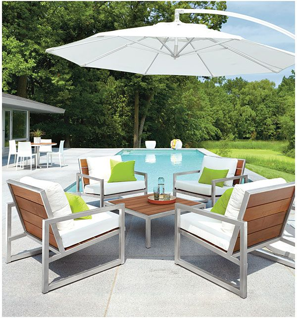 Montego Cocktail Table   Montego Chairs In Stainless Steel With Cushions    Outdoor   Room U0026 Board