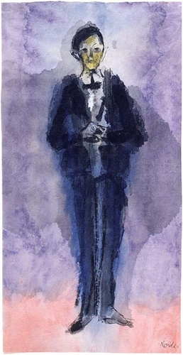 Emil Nolde    Conferencier  Brush with ink and watercolor on Japan paper  11 1/2 x 5 7/8 inches (292 x 150 mm)  The Pierpont Morgan Library, Bequest of Fred Ebb; 2005.151