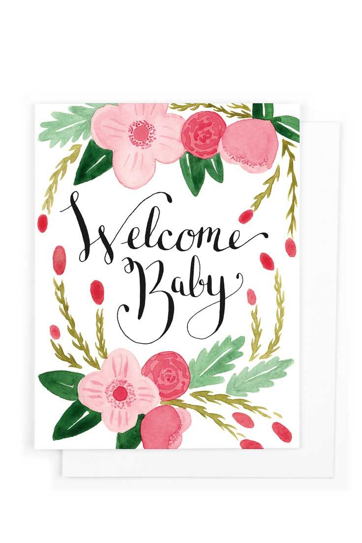 """Greeting Card A card to welcome a new life into this world. Inside: Blank Card - A2 size (4 1/4"""" x 5 1/2"""") - 110 lb. stock - Printed on HP Indigo Press - Printed in USA Envelope - 4 3/8"""" x 5 3/4"""" - 10"""