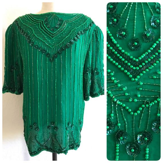 Green Beaded Top green sequin top sequin shirt green beaded