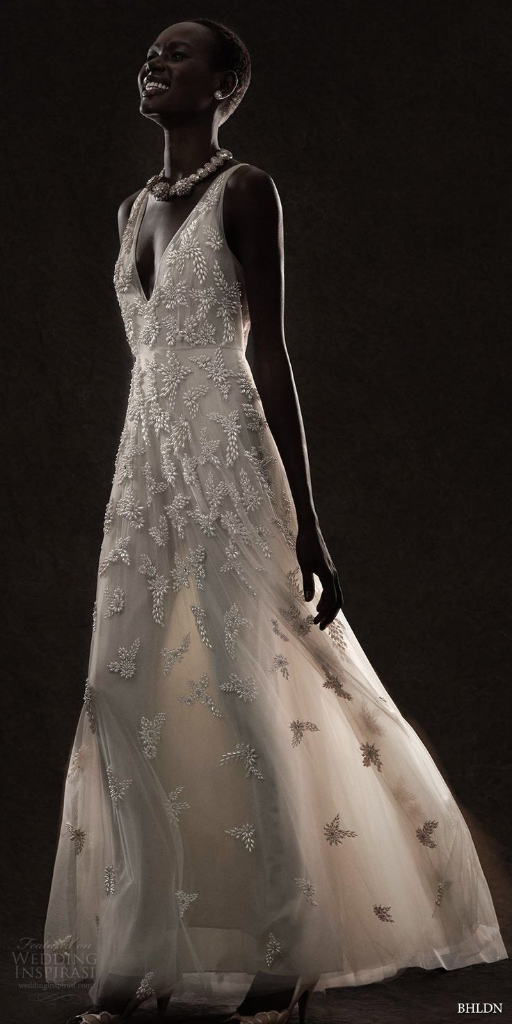 BHLDN spring 2017 bridal sleeveless deep v neck heavily embellished bodice champagne romantic modified a  line wedding dress open v back (kai) mv #wedding #bridal #weddingdress
