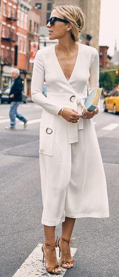 #summer #feminine #dressup | White Long Sleeve Wrap Dress