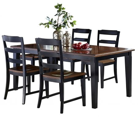 Image of 5505DTBC Avalon 5 PC Dining Set with Dining Table and 4 Dining Chairs with in Black Base Cherry Seat and