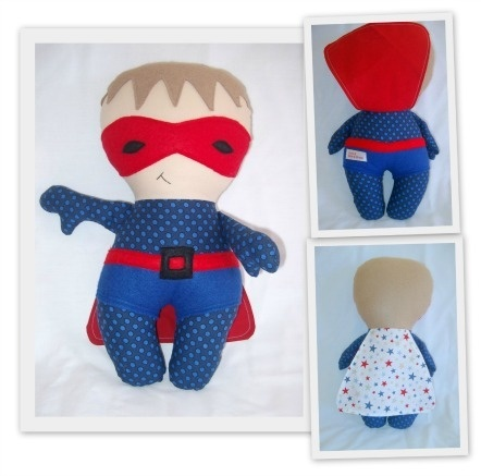 Image of PDF Sewing Pattern Superhero Soft Toy Doll - photo tutorial - e-file - BOY & GIRL VARIATIONS