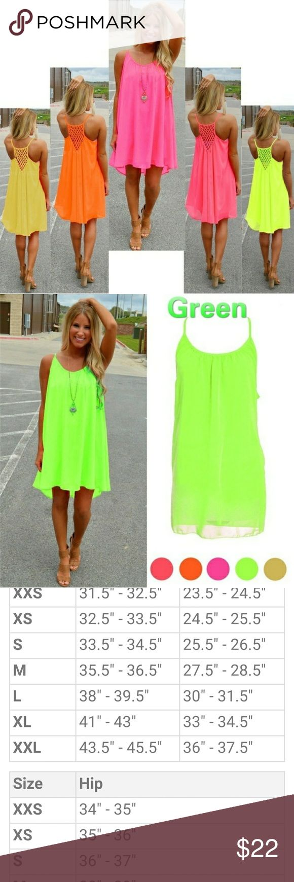 Beautiful neon green beach dress!!! Neon flowy dress...a little sheer perfect for bathing suit cover up Dresses