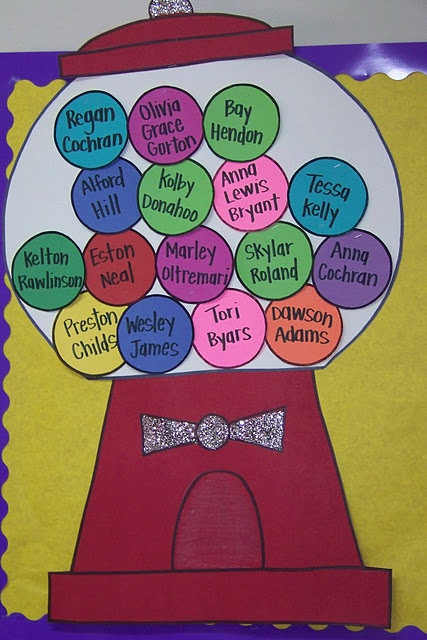 Bulletin Board Gum Balls. Could use this for attendence. Your ball will start out of the machine and when students arrive they have to put their name inside to show that they are present.