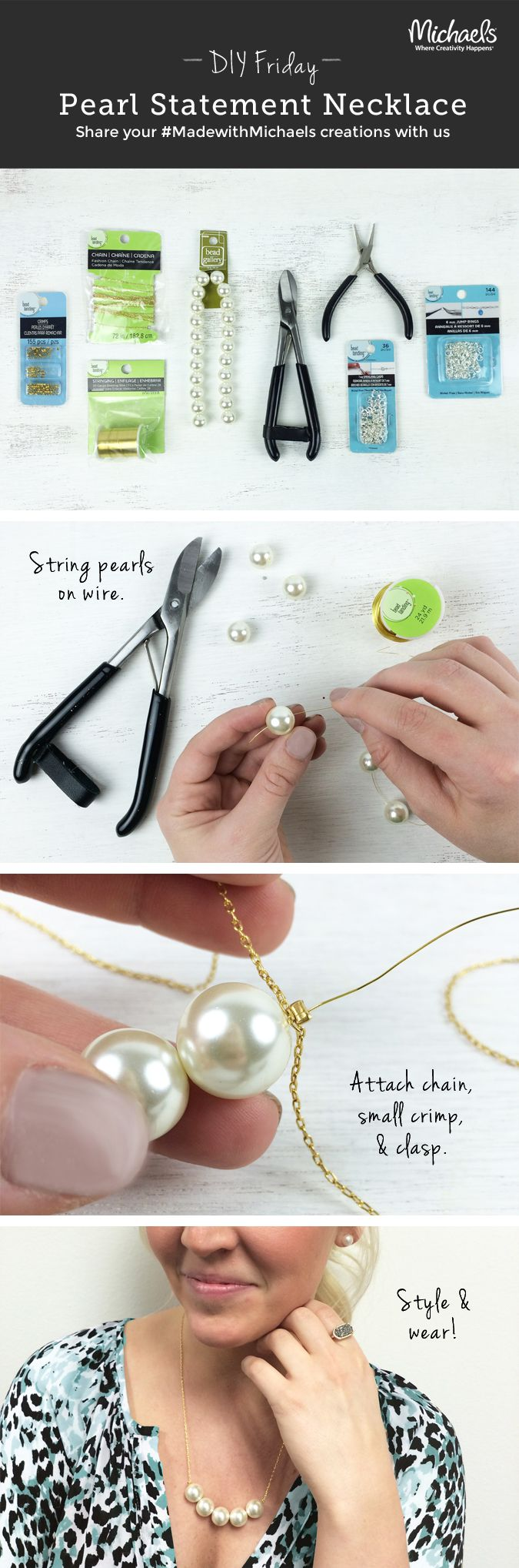 DIYFriday DIY Pearl Statement Necklace
