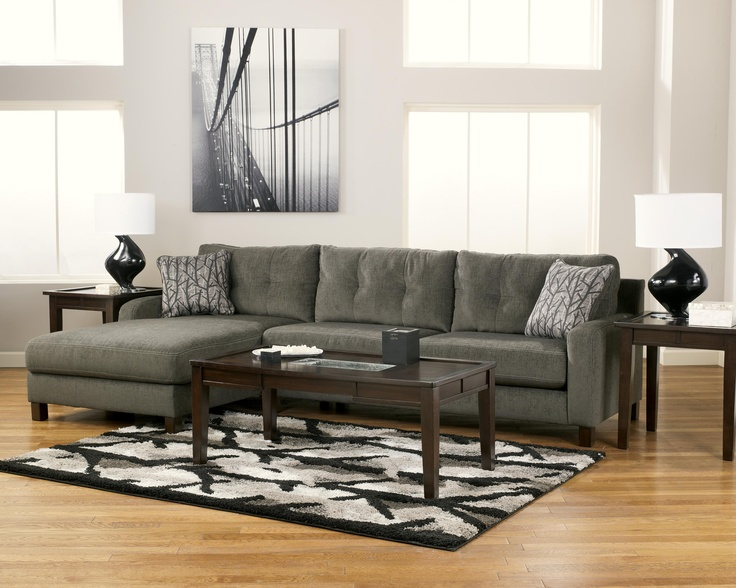 Siroun   Steel Contemporary Sectional With Left Chaise By Signature Design  By Ashley   Walkeru0027s Furniture   Sofa Sectional Spokane, Kennewick  Washington, ...