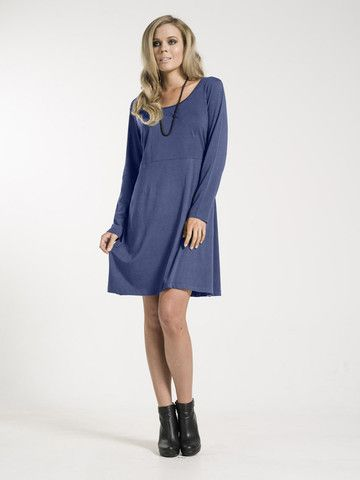 Agnes Dress - Blue dress with long sleeves and round neck. 100% Cotton Jersey from Kaja Clothing