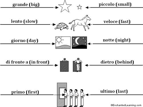 Learning Italian - Opposites