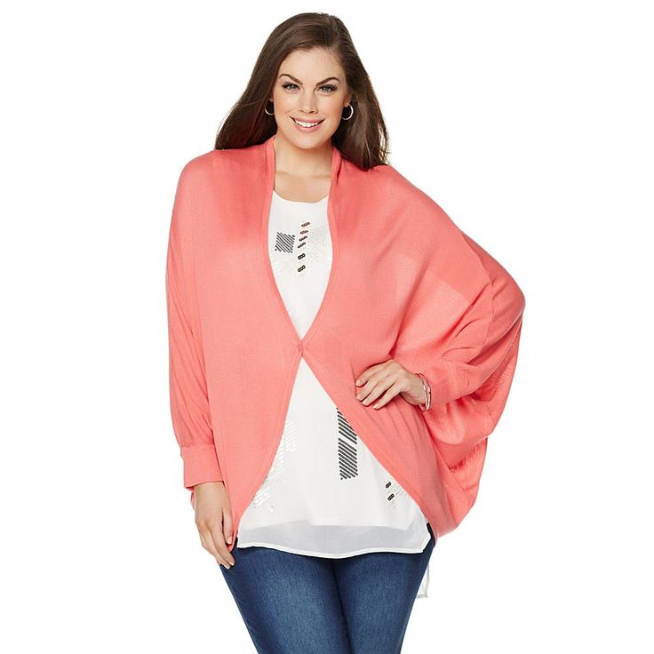 Melissa McCarthy Seven7 Sweater Knit Button Shrug - Sunkist Coral