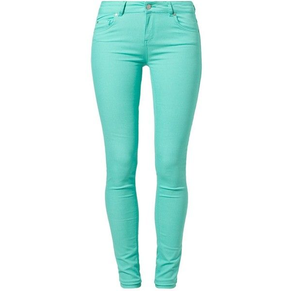Supertrash PARADISE Slim fit jeans absinth (83 CAD) ❤ liked on Polyvore featuring jeans, pants, bottoms, calças, mint, mint green jeans, supertrash, slim cut jeans, mint jeans and blue slim jeans