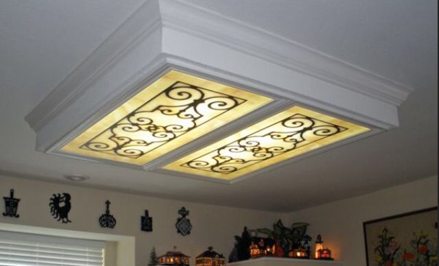 Cover up ugly lighting fluorescent light cover diy projects pinterest fluorescent light covers light covers and lights