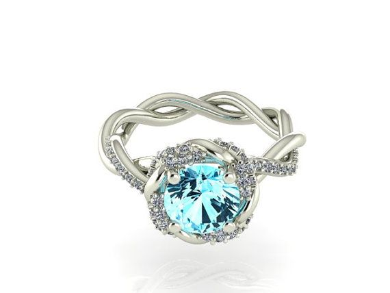 Wedding and Engagement ring Aquamarine with Diamond by BridalRings