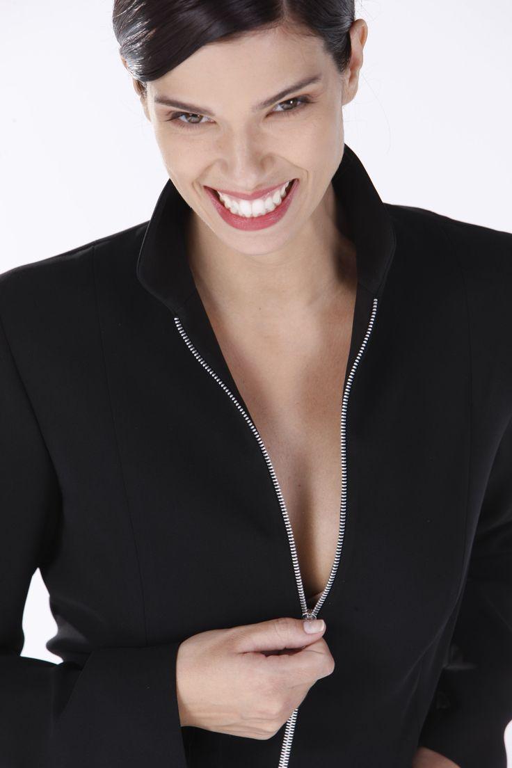Black zipper-front shirt.