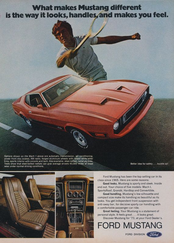 1973 Ford Mustang Mach I Car Ad Tennis Player by AdVintageCom & 666 best Great Car Ads images on Pinterest | Car Vintage ads and ... markmcfarlin.com
