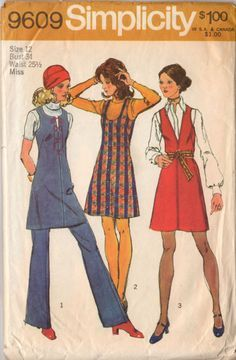 Vintage 1970's Ladies Jumper Dress and Bell Bottom Pants Sewing Pattern Simplicity 9609 Bust 34 Hip 36