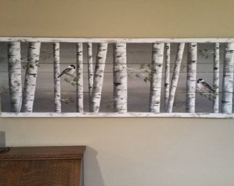 Pallet white birch wall decor Painting, 4 Piece set, 9 wide total, Hand Painted Dark Blue, reclaimed wood, chickadee,upcycled rustic shabby FOUR piece set Dimensions: 25 wide x 35 tall EACH Piece - Total hanging area of 9 width (depending on spacing between each piece) - Original Acrylic painting on reclaimed, rustic, characteristic pallet and fencing wood. Are you looking for a unique, personal accent for your home or cottage this summer? These 4 white birch pieces would look great down…
