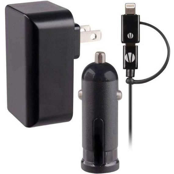 Vivitar Infinite Wall/Auto Charger Kit for Apple and Samsung Devices - 3 Feet Long