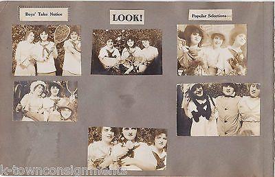 BOYS TAKE NOTICE GIRL PLAYING TENNIS OREGON COLLEGE ANTIQUE SNAPSHOT PHOTOS 1914