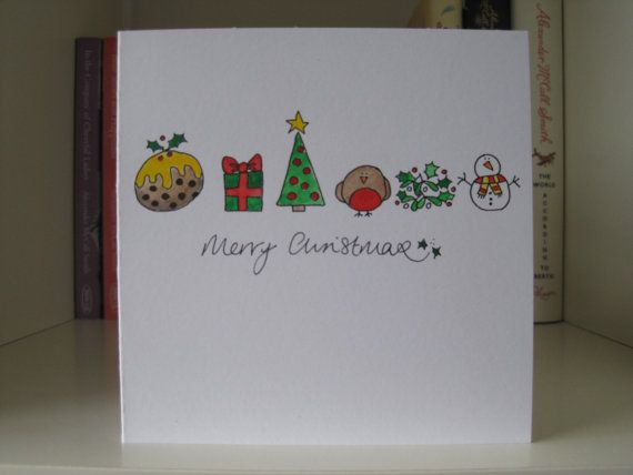 Handmade Christmas Card - drawn and painted by hand. Christmas Things