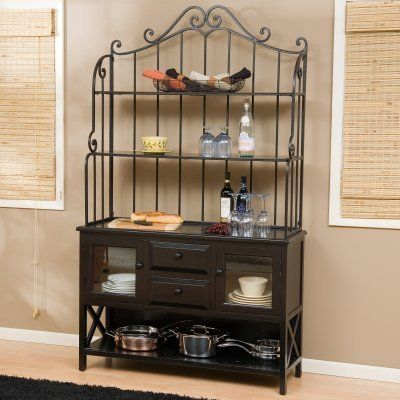 Hampton Wood Bakers Rack - Black by Alfred Zahn Ltd. $499.98. With lots of storage space, quality materials and an elegant appearance, the Hampton Wood Bakers Rack will make a lovely addition to your dining room. Built large to double as a buffet, this bakers rack is ideal both for storing dishes and glasses and for serving food. Buffet features a cupboard on each end with elegant glass-front doors. Two center drawers are perfect for storing silverware and serving utensils. ...