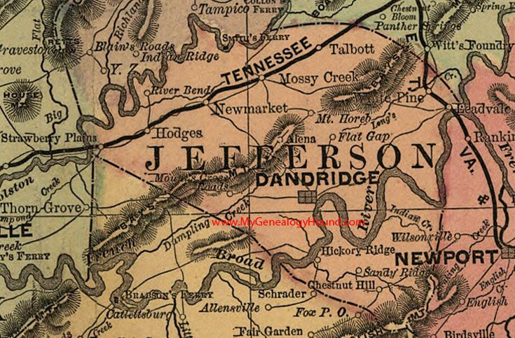 Jefferson County, Tennessee 1888 Map Dandridge, White Pine