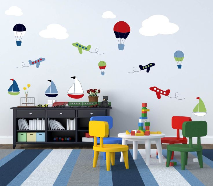 Nursery decals- Children's decals- Vinyl wall decals- Hot air balloons- Sail boat decal- plane decals-  clouds- Big set by wallinspired on Etsy https://www.etsy.com/listing/173318488/nursery-decals-childrens-decals-vinyl