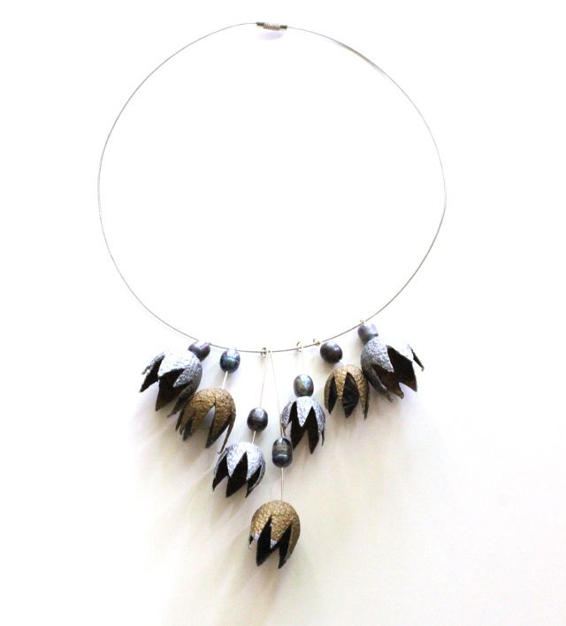 Cocoon Necklace: Stainless Steel Collar, Silver and Gold Painted Silk Cocoons, Peacock Fresh Water Pearls, Stainless Steel Wire