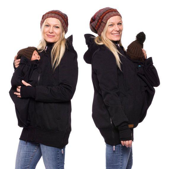 Softshell baby carrying coat, Babywearing softshell jacket, Carrier jacket, 3 in1, maternity clothes, pregnancy fashion, schwarz, AVENTURO
