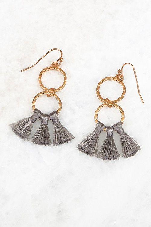 Double Ring Tassel Earrings | 4 Colors