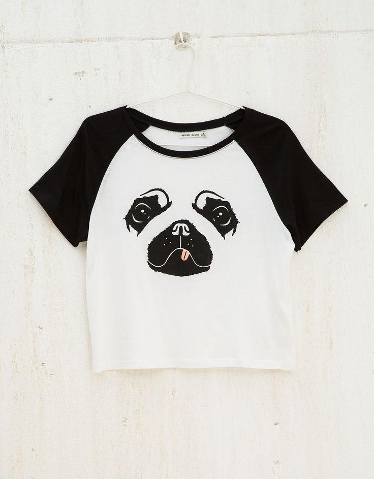 BSK dog print top - T- Shirts - Bershka United Kingdom
