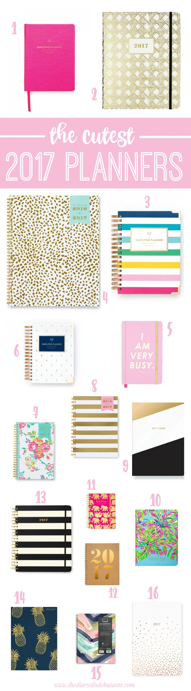 Plan for success in the New Year with one of these adorable 2017 planners! Whether it's a Christmas gift idea for yourself or for a loved one who's finishing up the academic school year, everyone loves a reason to better organize their life (socially, academically, and professionally)!