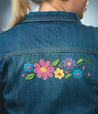 Denimbroidery – Embroidery Designs for Jeans and Jean Jackets Hand Embroidery Designs, Embroidery Applique, Beaded Embroidery, Embroidery Stitches, Embroidery Patterns, Machine Embroidery, Floral Embroidery, Embroidered Denim Jacket, Beaded Jacket