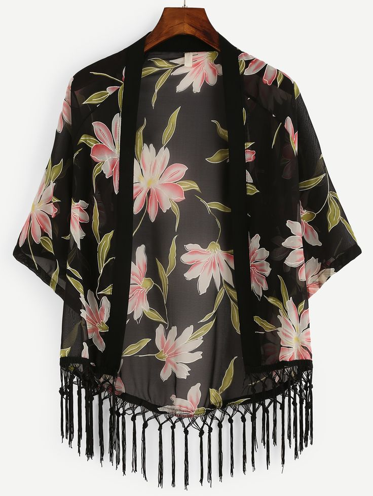 Kimono flor estampada flecos gasa-(Sheinside)