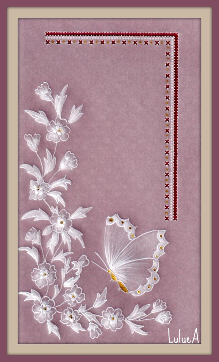 pergamano vlinder en bloemen