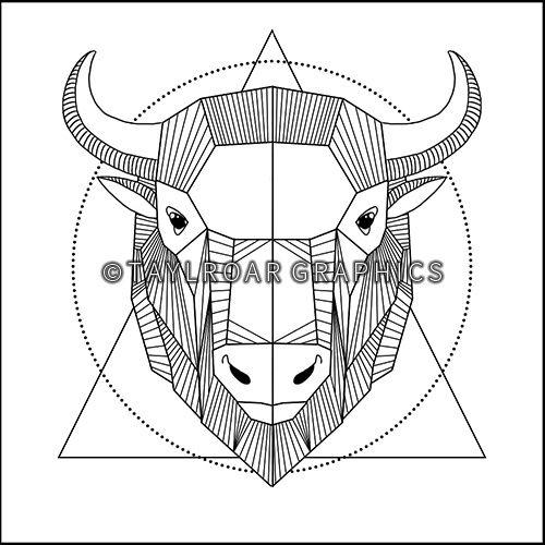 Full geometric buffalo head custom tattoo design. www.taylroargraphics.com