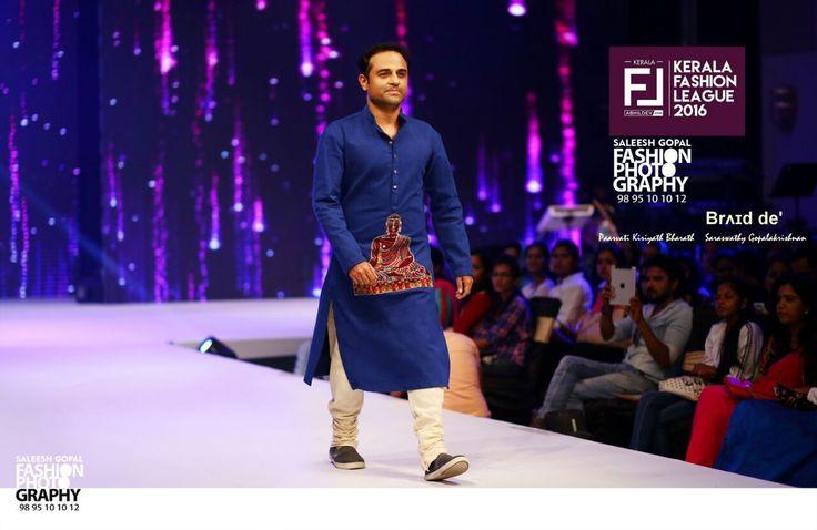 Denim Kurta  Designers : Paarvati Kiriyath Bharath * Saraswathy Gopalakrishnan ,at The Kerala Fashion League season 4  Music Director - Shaan Rahmaan in a braid de' Denim Kurta - Bathik Buddha